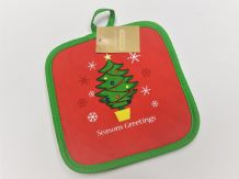 Christmas pot mat  Christmas 'Seasons Greetings' table decoration Quilted padded